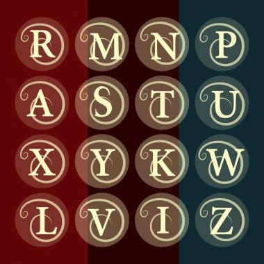 Simple and graceful floral monogram design template. Elegant line art logo design. Letter R, M, N, P, A, S, T, U, X, Y, K, W, L, V, I, Z. Vector illustration