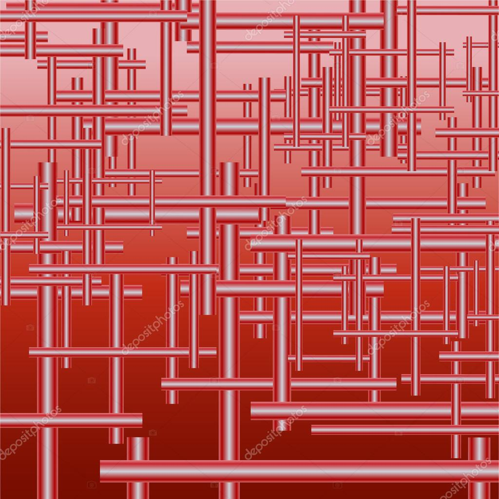 Mechanism of pipes. Red background. Vector illustration