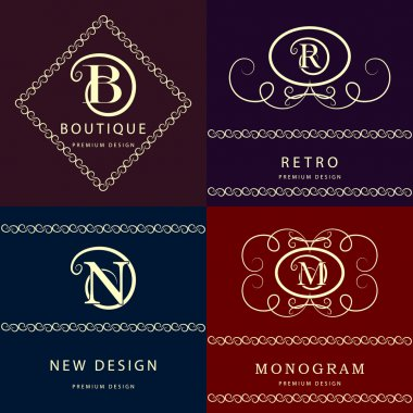 Monogram design elements, graceful template. Elegant line art logo design. Letter M, N, R , B. Emblem. Vector illustration