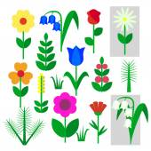 Fotografie Set of flowers insulated painted on a white background. Childs drawing rose, Bluebell, chamomile, Lily of the valley, carnation, branch, tree, leaf, grass. Vector illustration