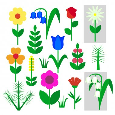 Vector illustration of Set of flowers insulated painted on a white background. Child's drawing rose, Bluebell, chamomile, Lily of the valley, carnation, branch, tree, leaf, grass. stock vector