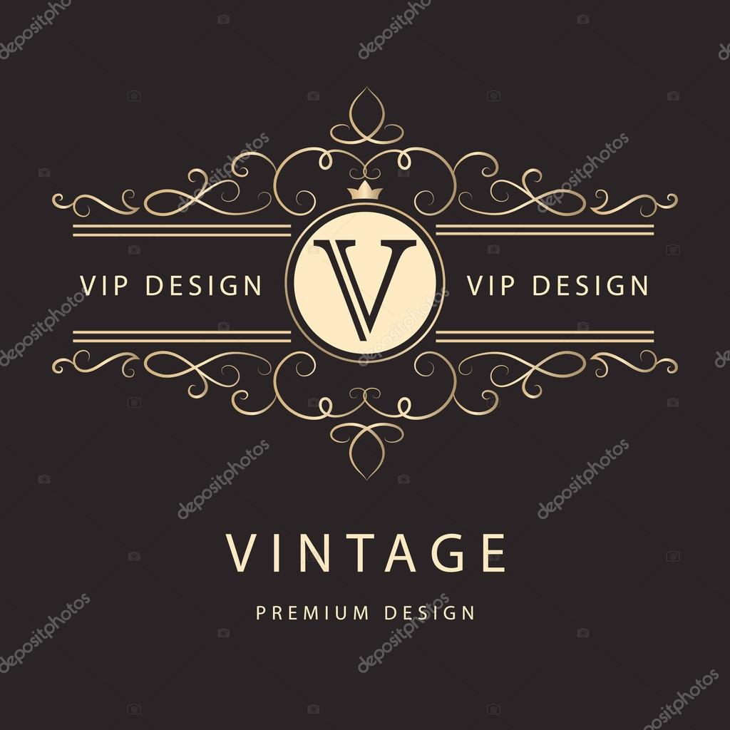 Monogram design elements, graceful template. Elegant line art logo ...
