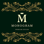 Monogram design elements, graceful template. Elegant line art logo design. Letter M. Business sign, identity for Restaurant, Royalty, Boutique, Cafe, Hotel, Heraldic, Jewelry, Fashion, Wine. Vector