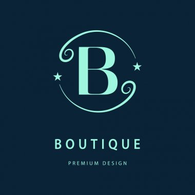 Monogram design elements, graceful template. Elegant line art logo design. Letter B. Business sign, identity for Restaurant, Royalty, Boutique, Cafe, Hotel, Heraldic, Jewelry, Fashion, Wine. Vector