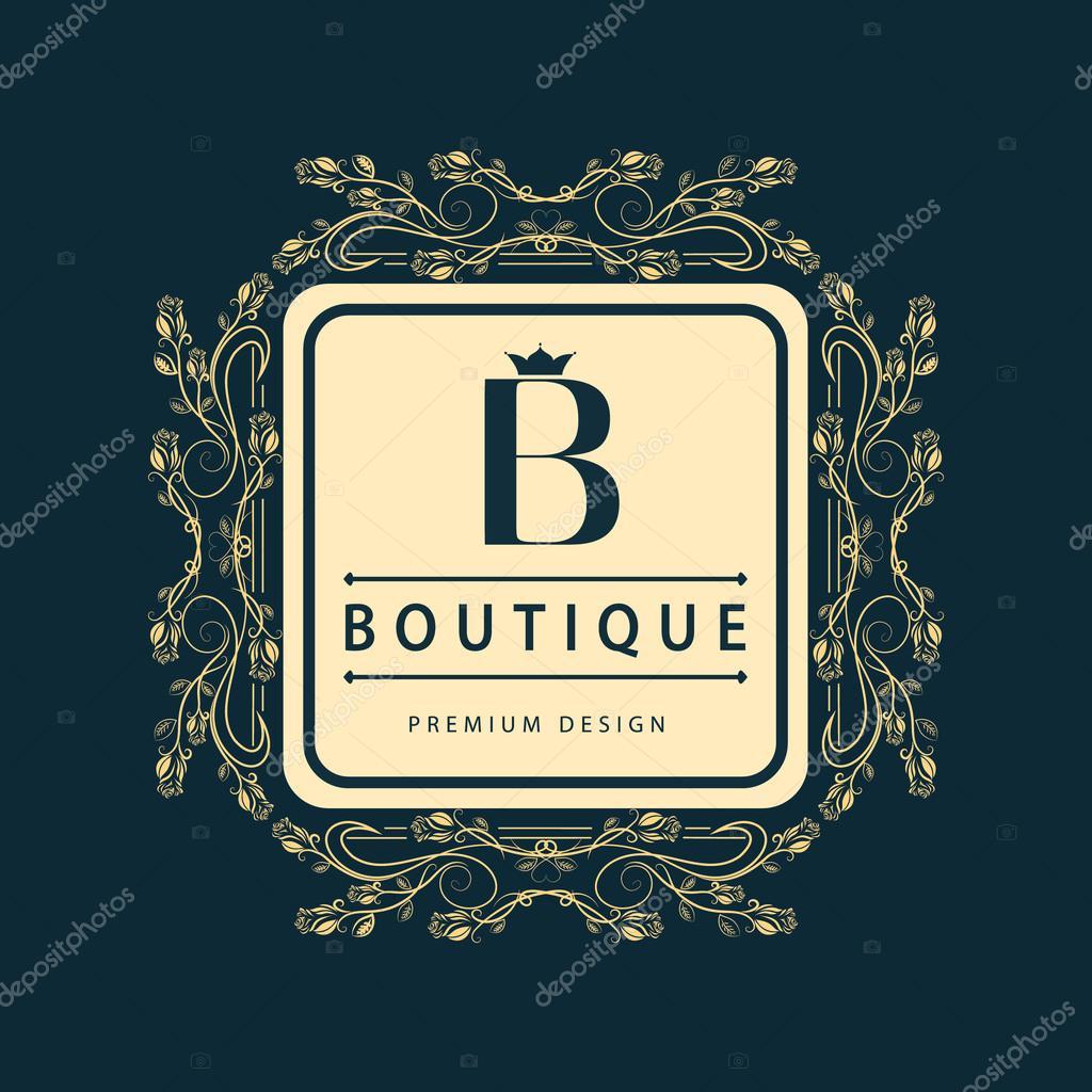 Boutique Design En Ligne éléments de conception de monogramme, modèle gracieux. elégante