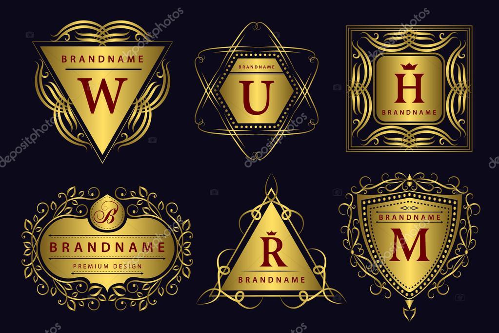 Monogram design elements, graceful template. Calligraphic elegant line art logo design.  Gold emblem. Business sign for Royalty, Boutique, Cafe, Hotel, Heraldic, Jewelry, Wine. Vector illustration