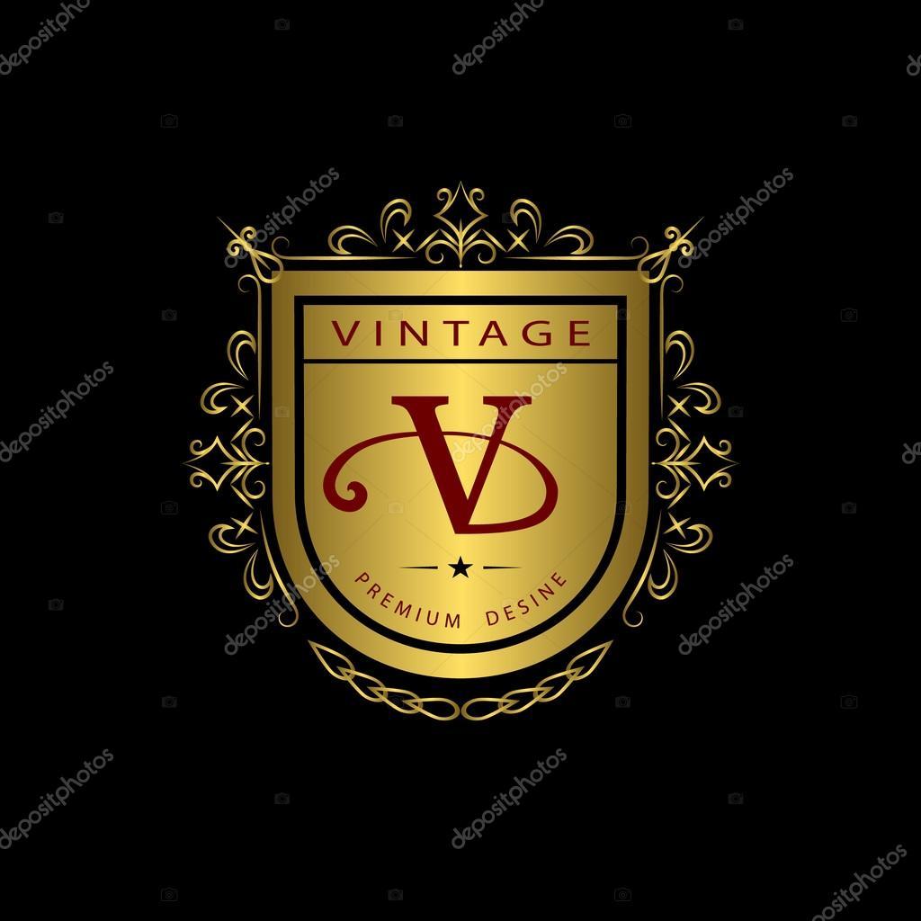 Monogram design elements, graceful template. Calligraphic elegant line art logo design. Gold emblem V. Business sign for Royalty, Boutique, Cafe, Hotel, Heraldic, Jewelry, Wine. Vector illustration