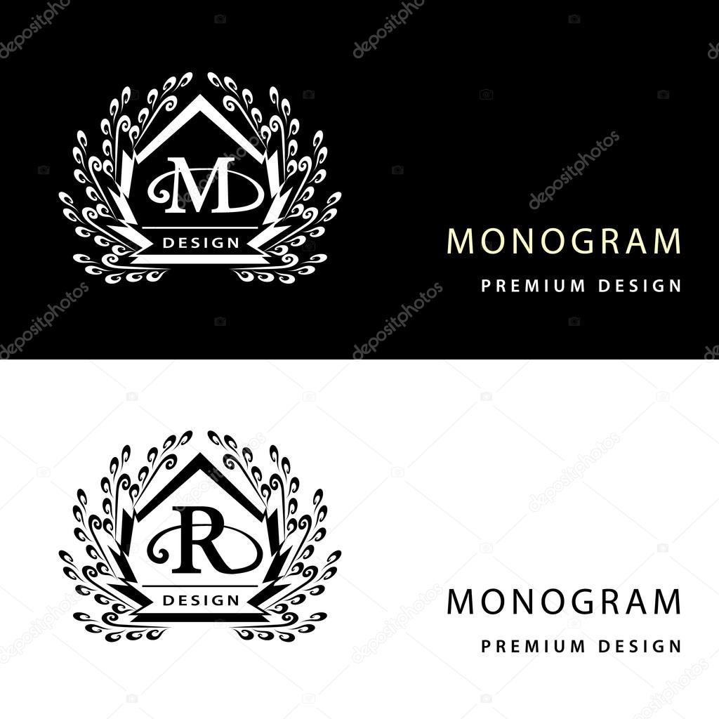 Lments De Conception Monogramme Modle Gracieux Emblme Lettre M R Calligraphique