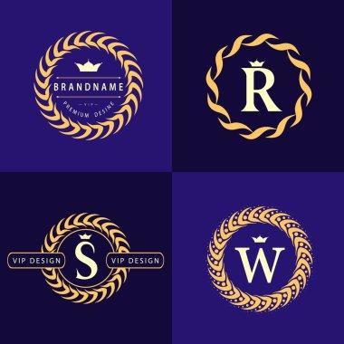 Monogram design elements, graceful template. Calligraphic elegant line art logo design. Letter emblem S, R, W for Royalty, business card, Boutique, Cafe, Hotel, Heraldic, Jewelry. Vector illustration