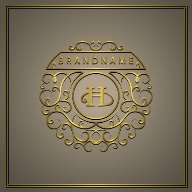 Monogram design elements, graceful template. Calligraphic elegant line art logo design. Letter Gold emblem H for Royalty, business card, Boutique, Hotel, Restaurant, Cafe, Jewelry. Vector illustration