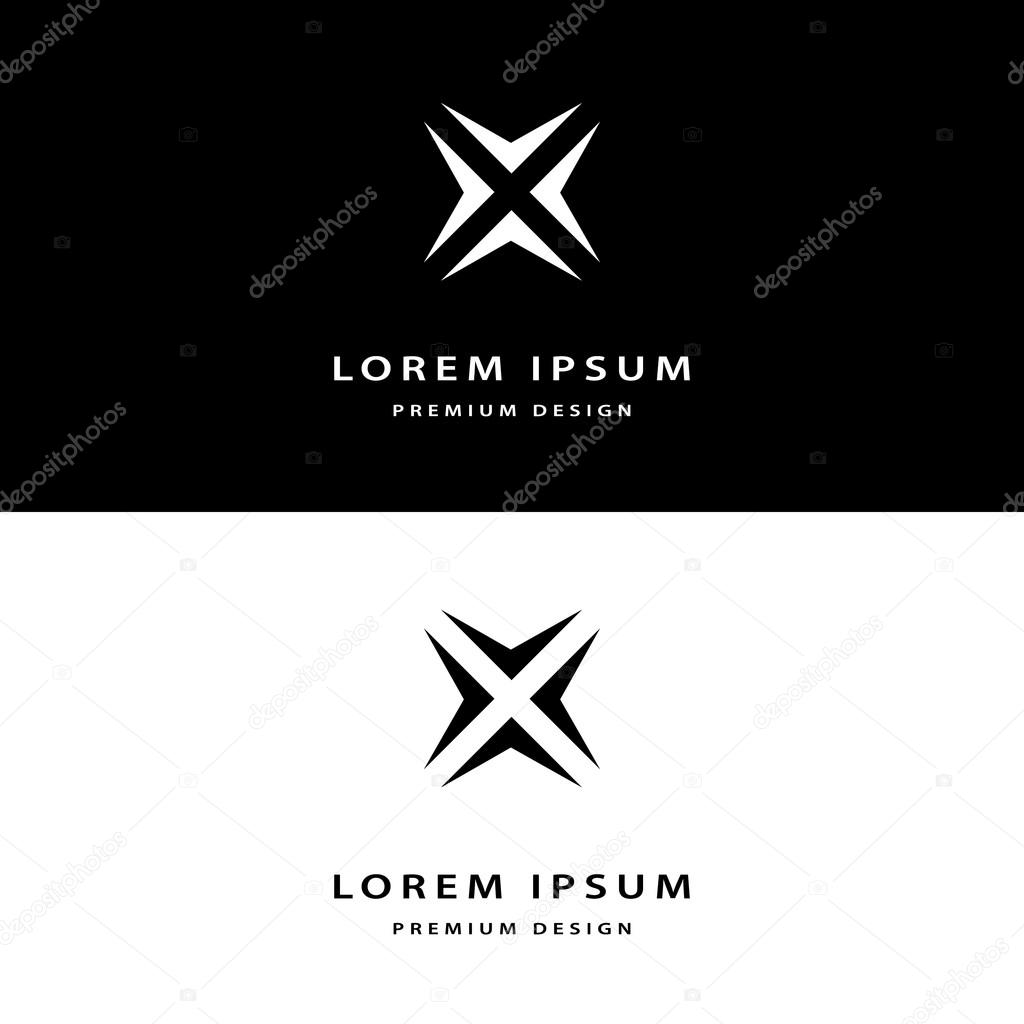 Creative icon monogram design elements with business card graceful template. Elegant line art abstract logo design. Corporate company emblem luxury style. Fashion sign symbol. Vector illustration