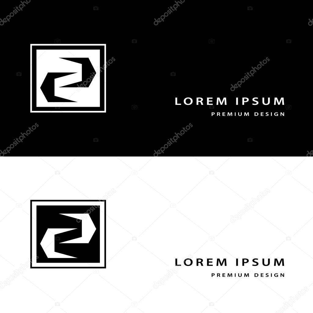 Lments De Design Cratif Icne Monogram Avec Carte Visite Modle Gracieux Ligne Lgante Art