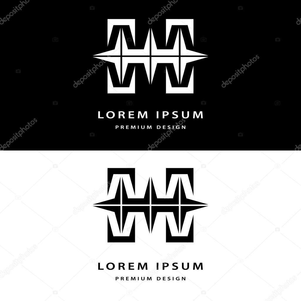Elements De Design Creatif Icone Monogram Avec Carte Visite Modele Gracieux Ligne Elegante Art