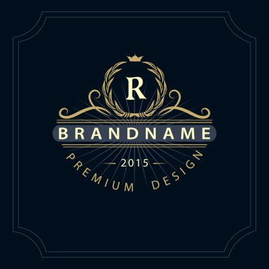 Monogram design elements, graceful template. Calligraphic elegant line art logo design. Letter emblem R for Royalty, business card, Boutique, Hotel, Restaurant, Cafe, Jewelry. Vector illustration
