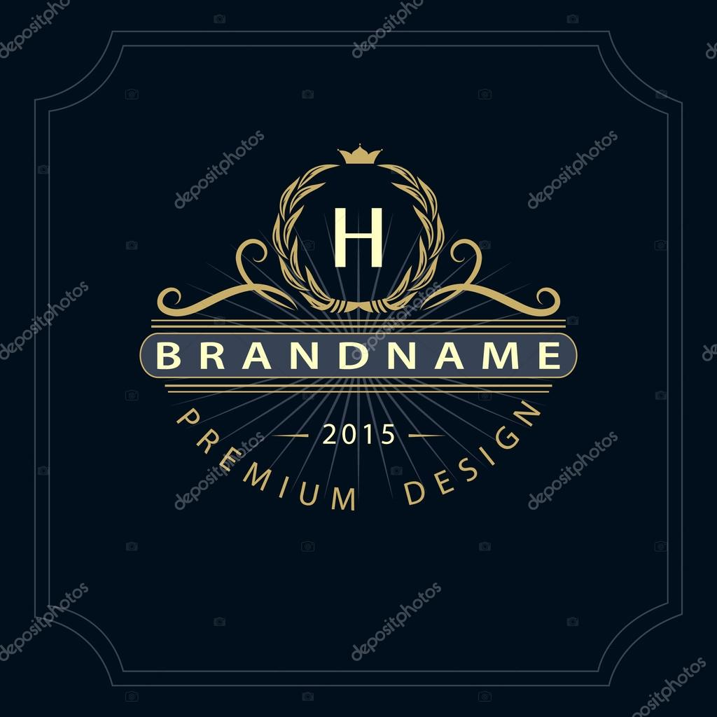 Calligraphic Elegant Line Art Logo Design Letter Emblem H For Royalty Business Card Boutique Hotel Restaurant Cafe Jewelry