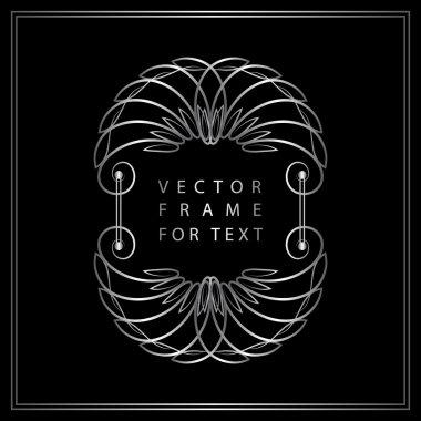 Vintage Calligraphic Silver frame. Modern Swirl Frame. Monogram design elements, graceful template. Antique elegant line logo design. Easy to edit for invitations or announcements. Vector illustration