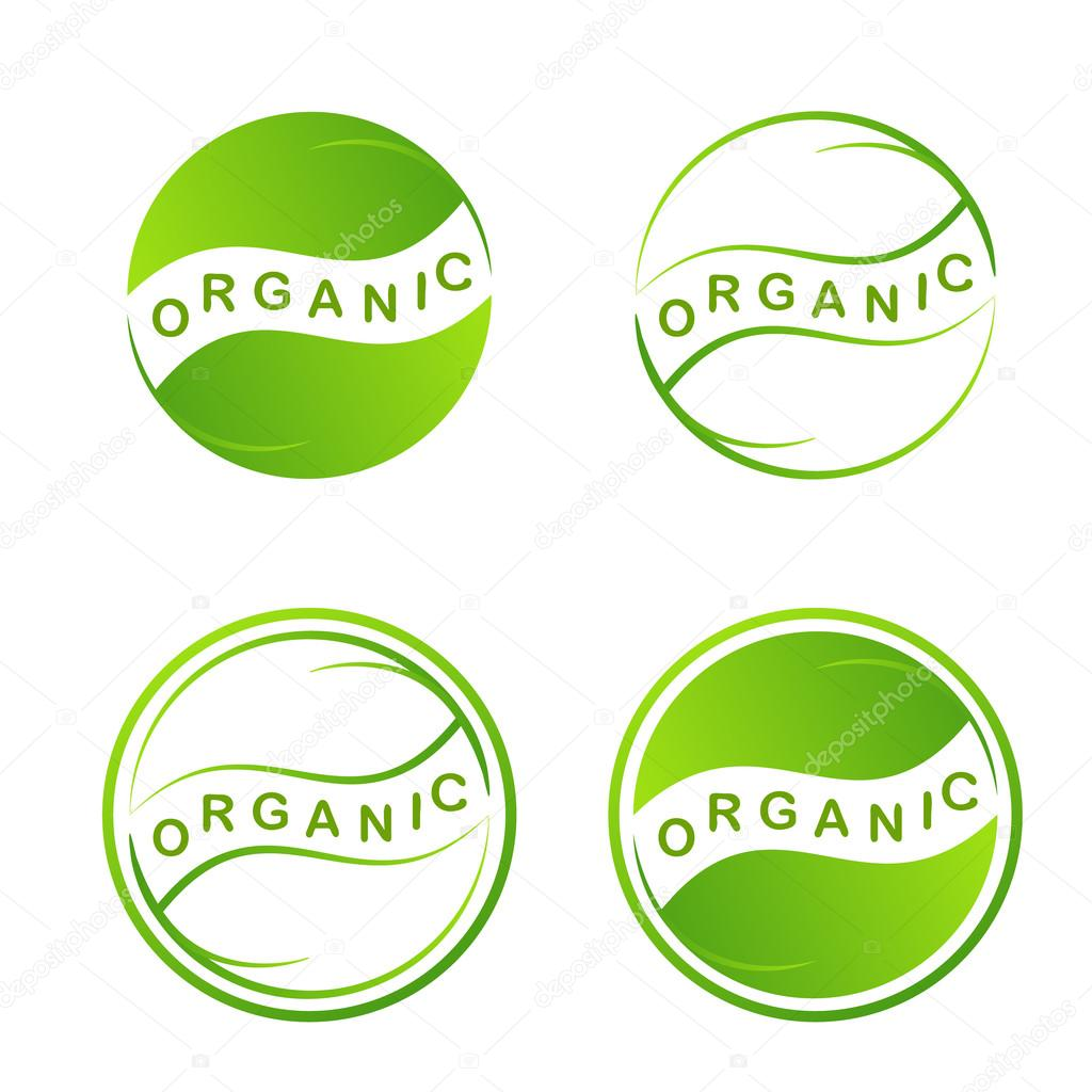 Abstract green leaf logo. Plant web Icon Isolated On White Background. Graphic Design eco symbols in circles. Eco Design Template. Creative Ecology Organic food concept. Vector illustration
