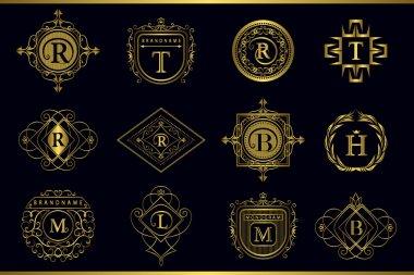 Vector Monogram design elements, graceful template. Calligraphic elegant line art logo design. Gold Letter emblem M, B, R, H, T, L for Royalty, business card, Boutique, Hotel, Restaurant, Cafe.