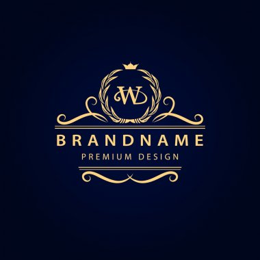 Monogram design elements, graceful template. Calligraphic elegant line art logo design. Letter emblem W for Royalty, business card, Boutique, Hotel, Restaurant, Cafe, Jewelry. Vector illustration