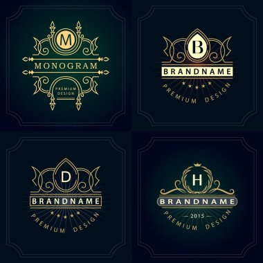 Monogram design elements, graceful template. Calligraphic elegant line art logo design. Letter emblem B, D, M, H for Royalty, business card, Boutique, Hotel, Heraldic, Jewelry. Vector illustration