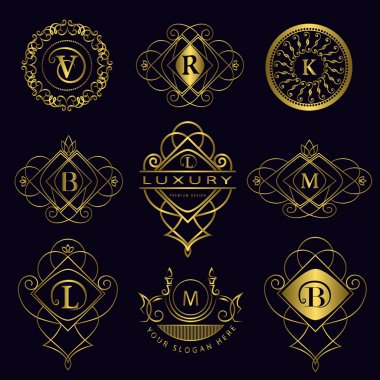 Monogram design elements, graceful template. Calligraphic elegant line art logo design. Letter emblem B, L, M, V, R, K for Royalty, business card, Boutique, Hotel, Heraldic. Vector illustration