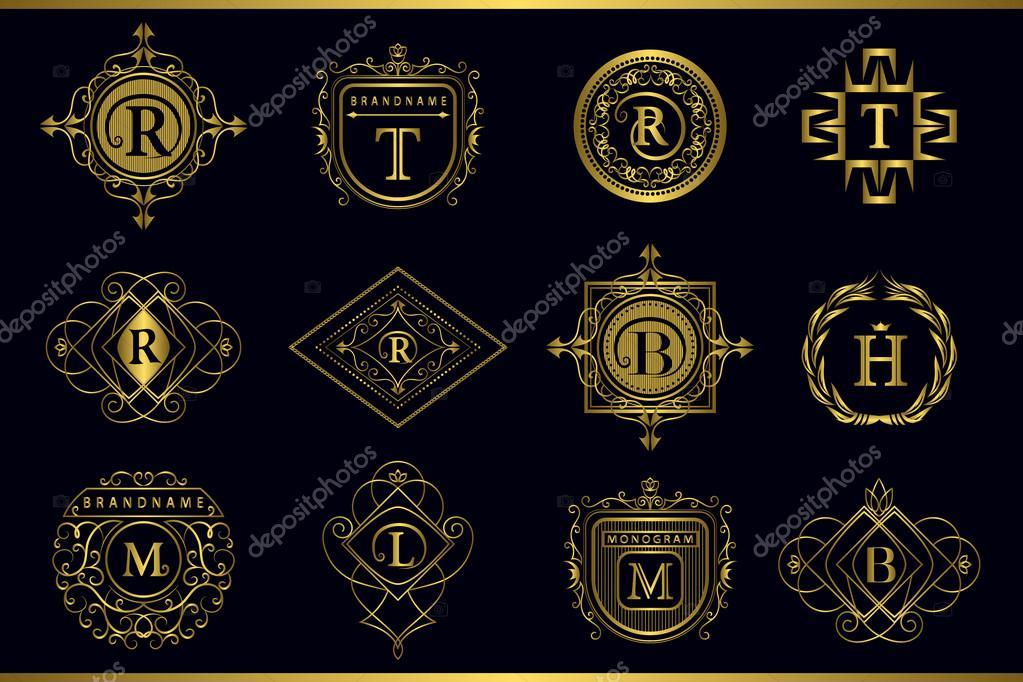Vector monogram design elements graceful template calligraphic calligraphic elegant line art logo design gold letter emblem m b r h t l for royalty business card boutique hotel restaurant vector reheart Image collections