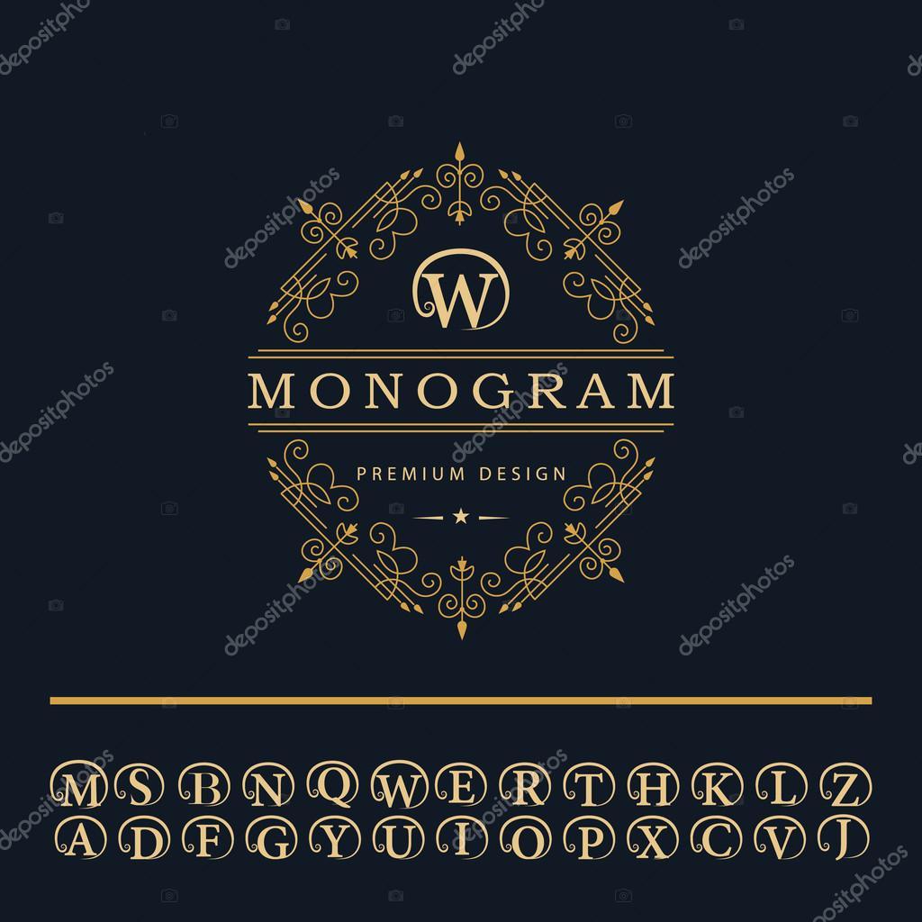 Elementos De Design Do Monograma Emblema De Letras Em Inglês