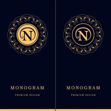 Monogram design elements, graceful template. Letter emblem sign N. Calligraphic elegant line art logo design for business cards, Royalty, Boutique, Cafe, Hotel, Heraldic, Jewelry. Vector illustration