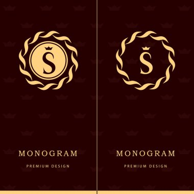 Monogram design elements, graceful template. Letter emblem sign S. Calligraphic elegant line art logo design for business cards, Royalty, Boutique, Cafe, Hotel, Heraldic, Jewelry. Vector illustration