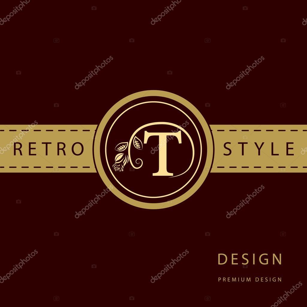 Calligraphique Elegant Art De La Ligne Conception Logo Lettre Signe Embleme T Pour Monarchie Carte Visite Boutique Hotel Restaurant Cafe