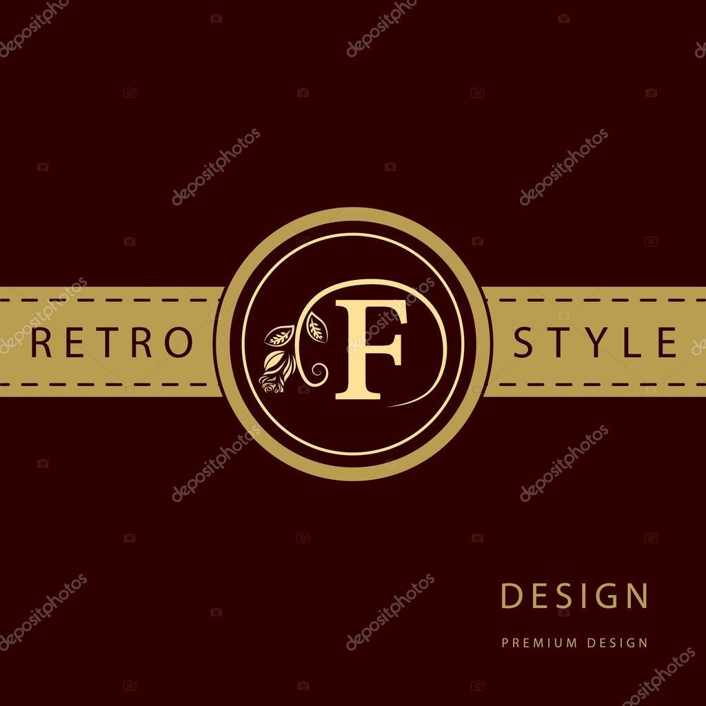 Calligraphique Lgant Art De La Ligne Conception Logo Emblme Lettre Signe F Monarchie Carte Visite Boutique Htel Restaurant Caf Bijoux