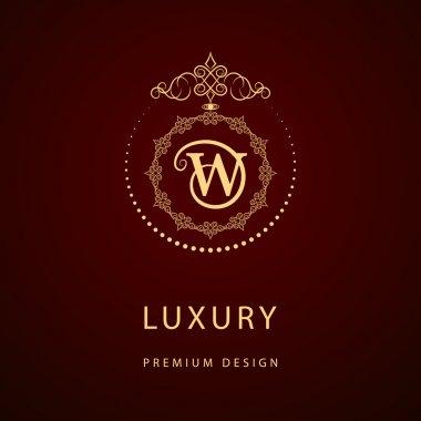 Monogram design elements, graceful template. Calligraphic elegant line art logo design. Letter emblem sign W for Royalty, business card, Boutique, Hotel, Restaurant, Cafe, Jewelry. Vector illustration
