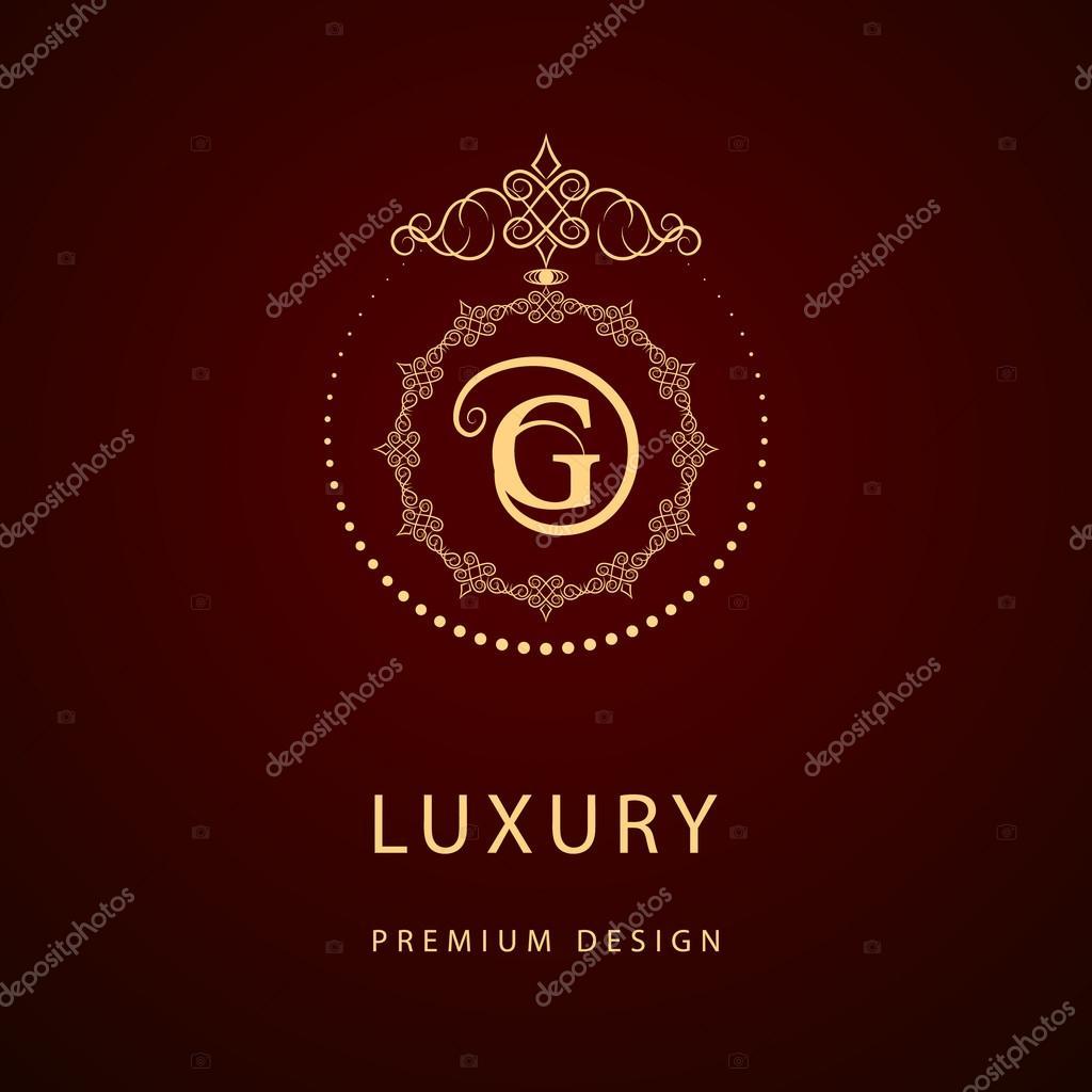 Calligraphique Elegant Art De La Ligne Conception Logo Embleme Lettre Signe G Monarchie Carte Visite Boutique Hotel Restaurant Cafe Bijoux