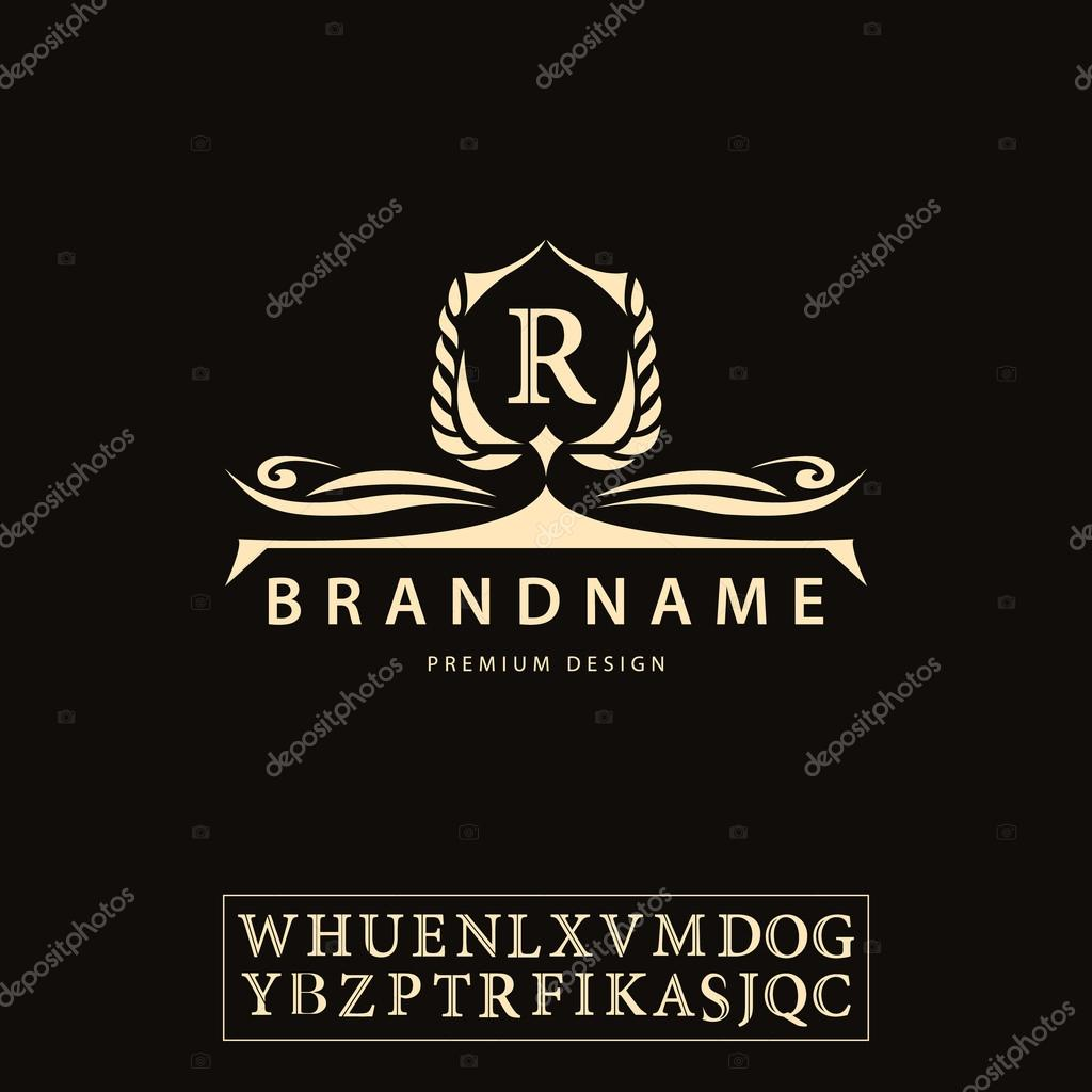 Luxury Vintage logo. Business sign, label, Letter emblem R for badge, crest, Restaurant, Royalty, Boutique brand, Hotel, Heraldic, Jewelery, Fashion, Real estate, Resort, tattoo, Auctions. Vector