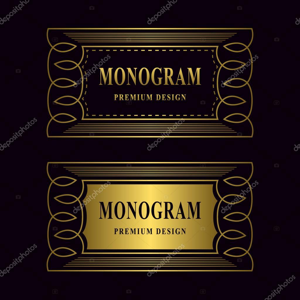 Vector Illustration Of Monogram Design Elements Graceful Template Luxury Gold Frame Calligraphic Elegant Line Art Logo For Business Cards