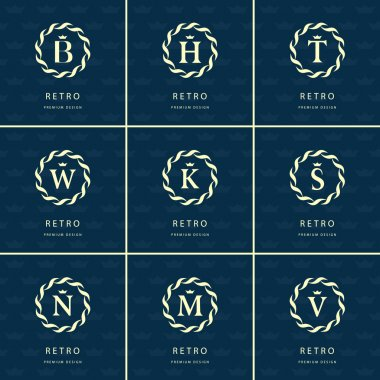 Monogram design elements, graceful template. Calligraphic elegant line art logo design. Letter emblem sign B, M, H, T, W, K, S, N, V for Royalty, business card, Boutique, Hotel, Heraldic. Vector
