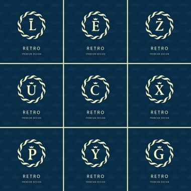 Monogram design elements, graceful template. Calligraphic elegant line art logo design. Letter emblem sign L, E, Z, U, C, X, P, Y, G for Royalty, business card, Boutique, Hotel, Heraldic. Vector