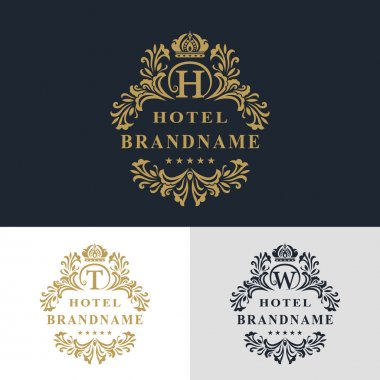 Monogram design elements, graceful template. Calligraphic elegant line art logo design. Letter emblem sign T, W, H for Royalty, business card, Boutique, Hotel, Heraldic, Jewelry. Vector illustration