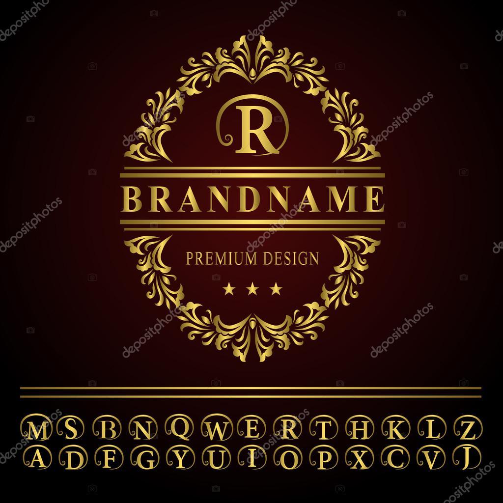 Monogram design elements, graceful template. Elegant line art logo design. Business gold emblem letter R for Restaurant, Royalty, Boutique, Cafe, Hotel, Heraldic, Jewelry, Fashion. Vector illustration