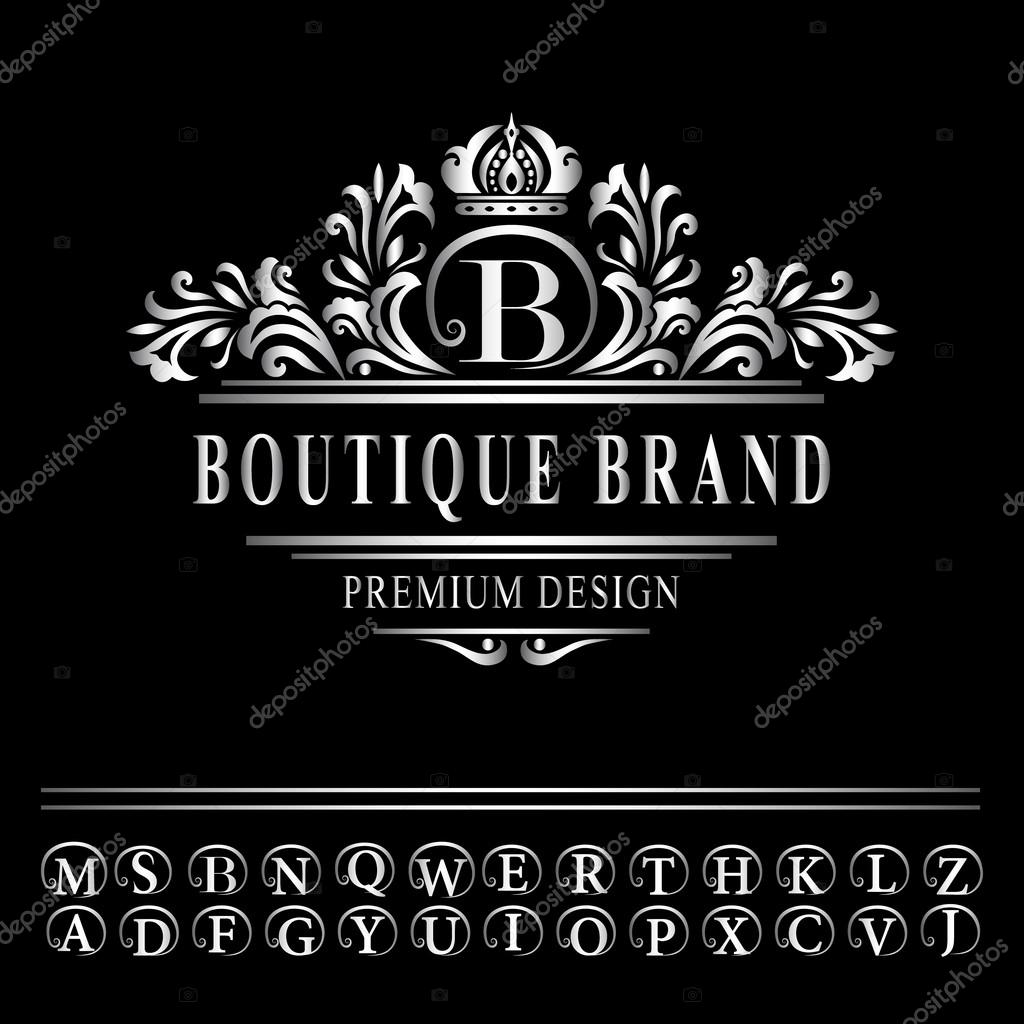 Monogram design elements graceful template elegant line art logo vector illustration of monogram design elements graceful template elegant line art logo design business silver emblem letter b for restaurant royalty pronofoot35fo Images