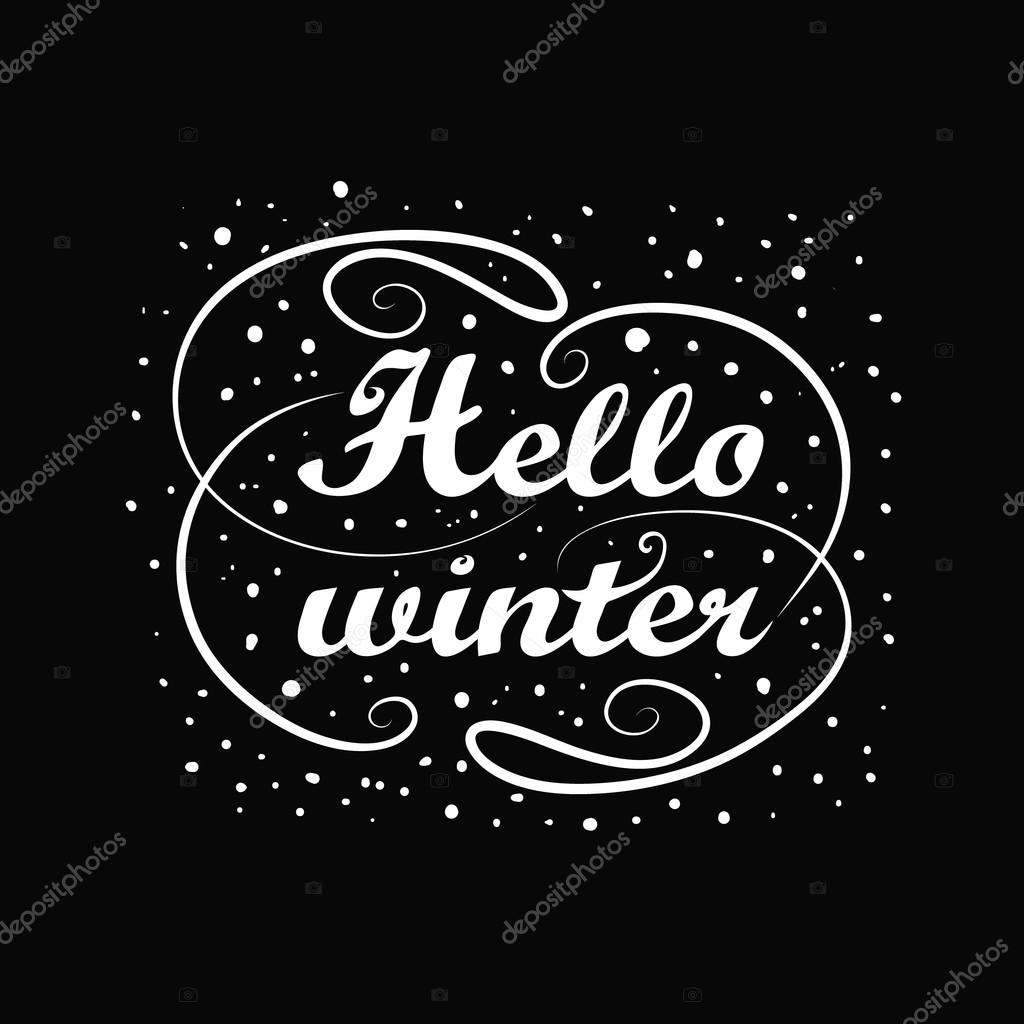 Hello Winter Holiday Greeting Card Design Black Chalkboard With