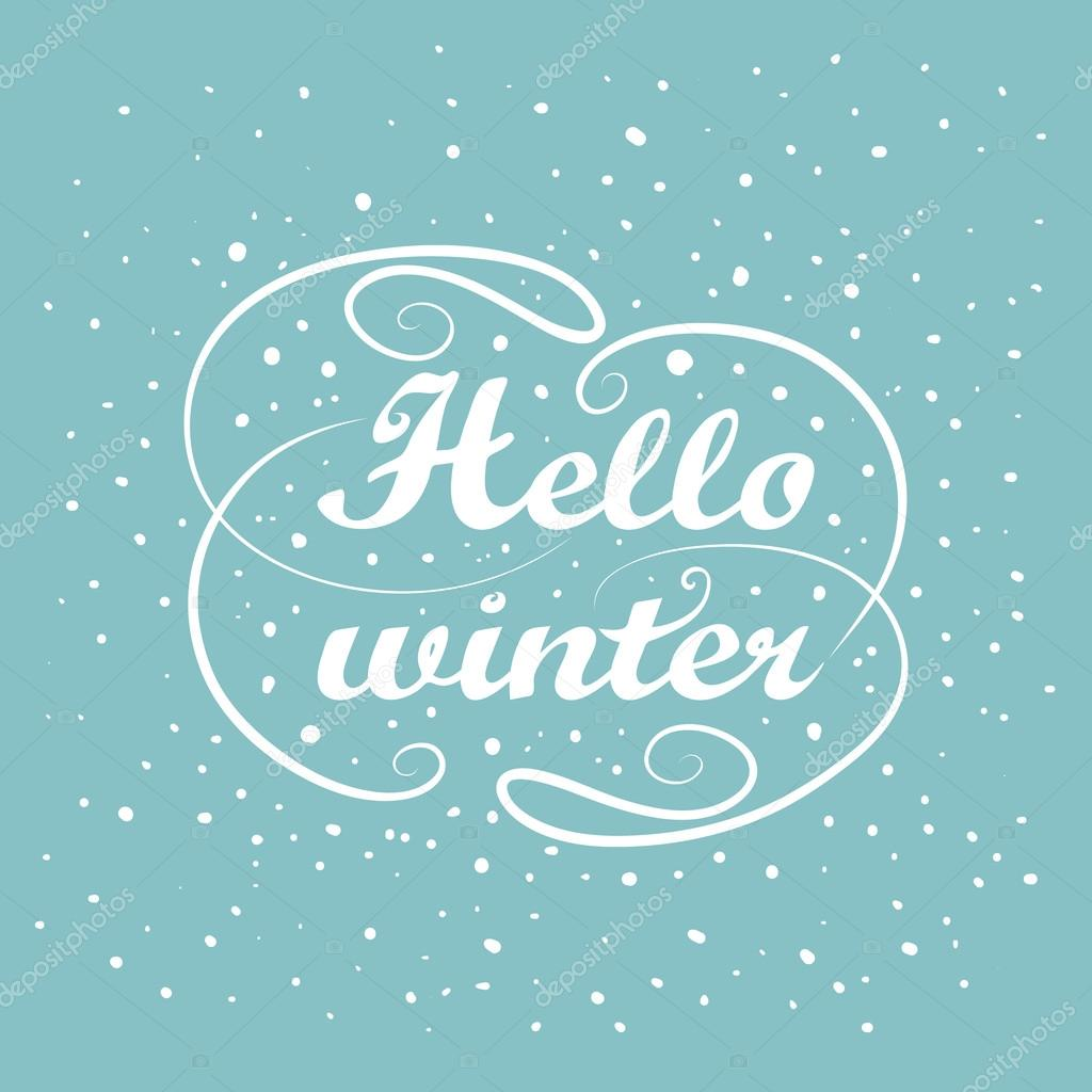 Superieur Hello Winter Holiday Greeting Card Design. Vintage White Handwriting  Message. Abstract Background. Hand