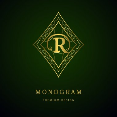 Monogram design elements, graceful template. Calligraphic elegant line art logo design. Letter emblem sign R for Royalty, business card, Boutique, Hotel, Heraldic, Cafe, Jewelry. Vector illustration