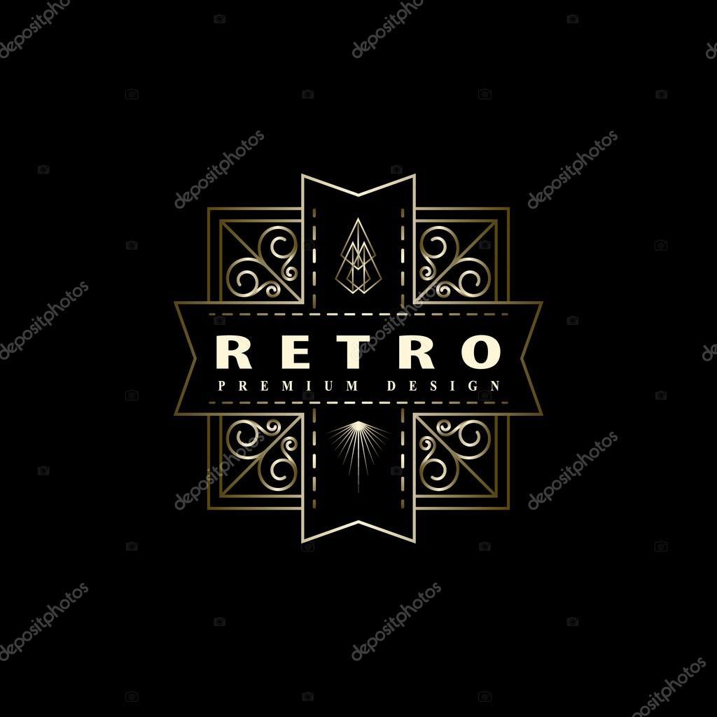 Geometric Monogram logo. Abstract template in trendy mono line style. Monochrome vintage hipster. Minimal Design elements for logo, badge, emblem, banner, insignias, frame, label. Vector illustration
