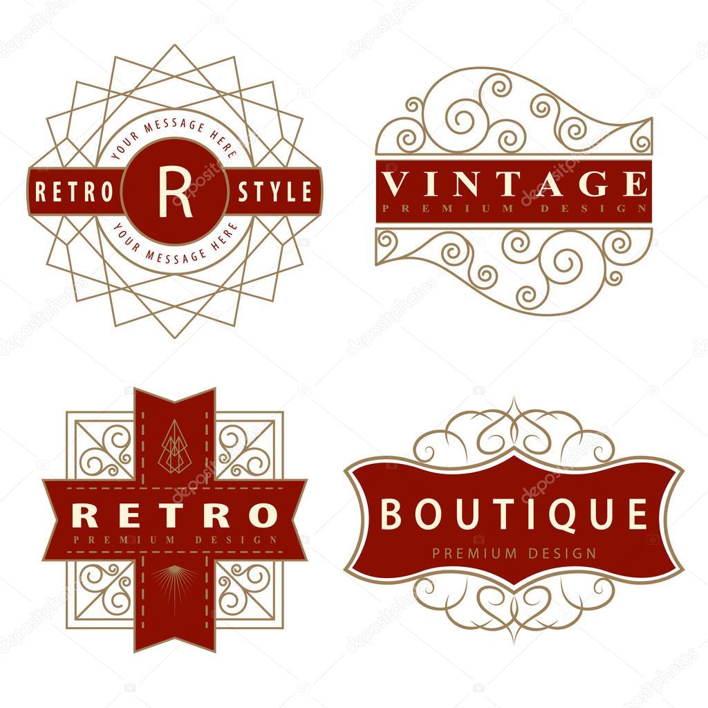 Set of Luxury Logo template calligraphic elegant ornament ...