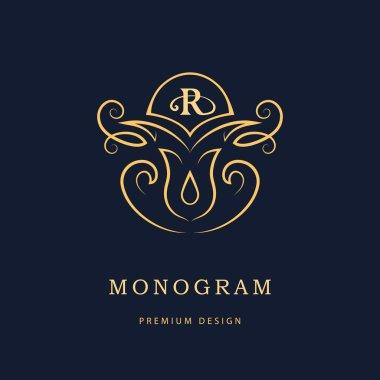 Luxury Logo template flourishes calligraphic elegant ornament lines. Vintage frame template. Letter emblem R. Restaurant, Royalty, Boutique, Hotel, Heraldic, Jewelry identity. Vector illustration