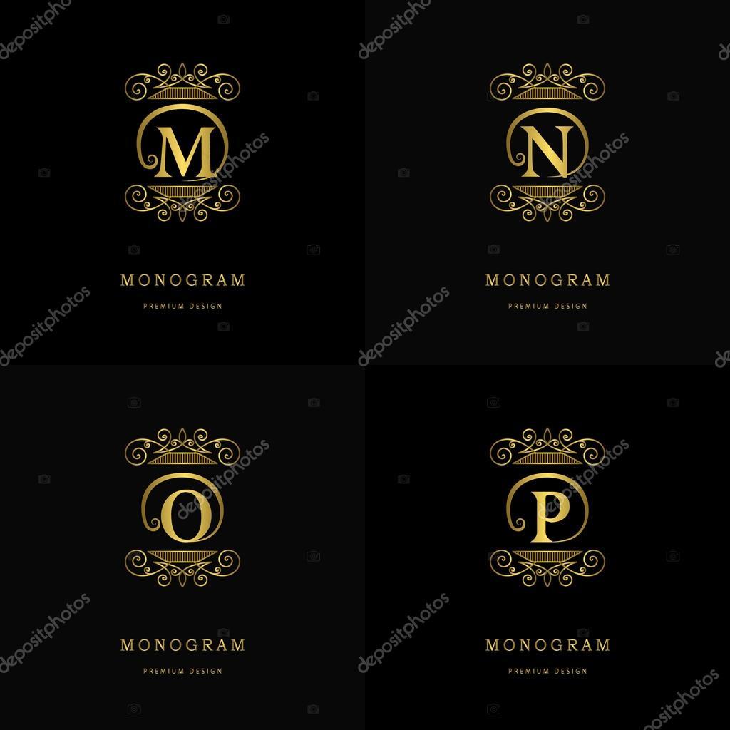 Calligraphique Lgant Art De La Ligne Conception Logo Signe Lemblme Lettre M N O P Pour Monarchie Carte Visite Boutique Htel
