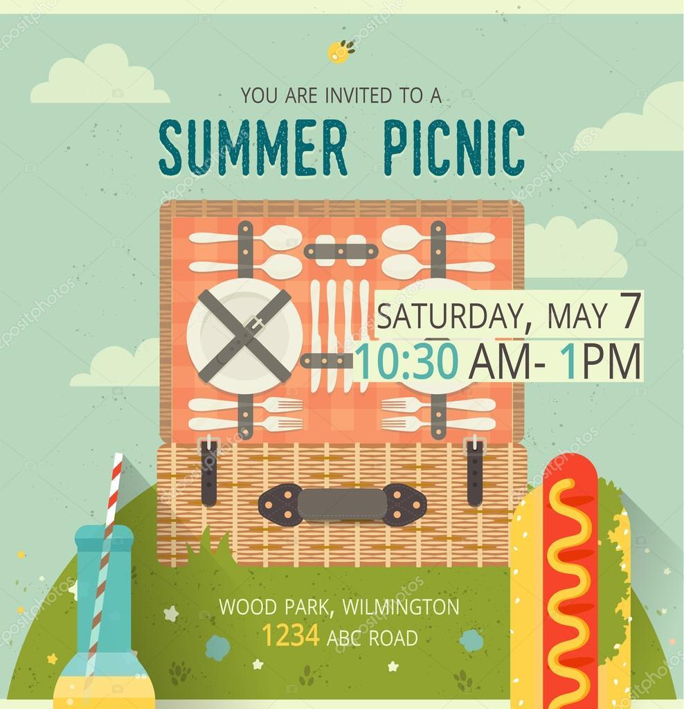 picknick-lichtung-karte. abbildung von essen und zeitvertreib, Einladung