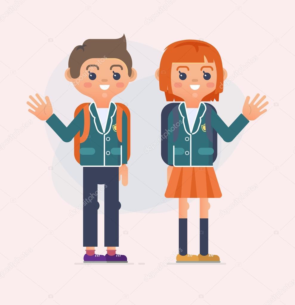Torna A Illustrazione Di Scuola Dei Bambini Adolescenti Libro