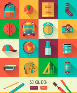 Vector school workspace illustration. Education and school icons set. Flat style, long shadows. High school object, college items. Back to school. Creative banner, card with  teenager objects.